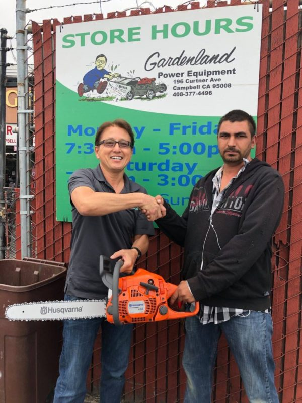 Juan Carlos Perez for winning a new Husqvarna450 Rancher chainsaw and supporting Brian Santo's fight against cancer