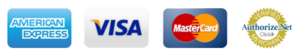 Payment Options Icons: Master Card, Visa, American Express and Authorize.net